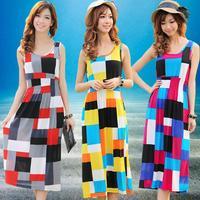 2014 New Summer Bohemian Dress Special Plaid design Women beach long dresses Fashion Colorful Girl Print Chiffon novelty Clothes