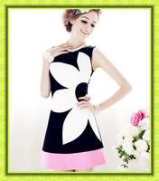 free shipping Pink doll elegant formal black and white powder slim flower sleeveless one-piece women summer dress