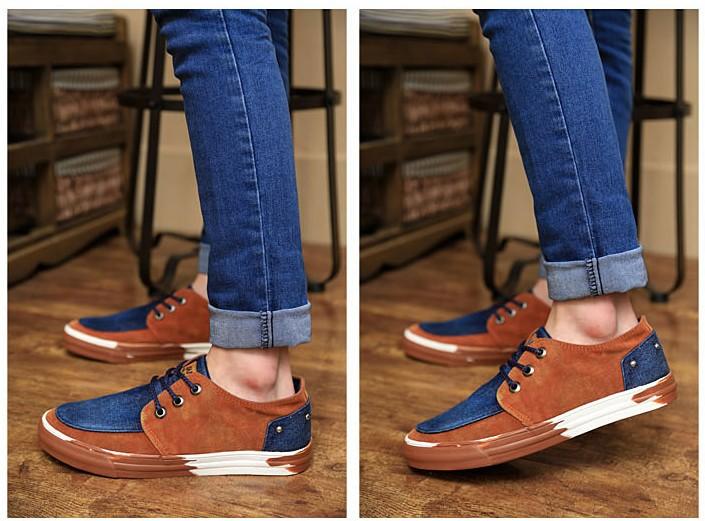 Весна камуфляж мужская приливного течения мужчины скейтбординга туфли мода туфли цвет блок украшения свободного покроя обувь 0014