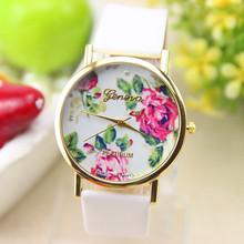 New Fashion Leather GENEVA Rose Flower Watch For Women Dress Watch Quartz Watches 1pcs/lot