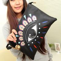 2014 Korean fashion day clutch doodle big eyes black small bag one shoulder cross-body bag women's handbag