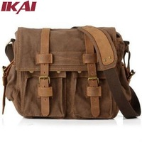 BN033 Men's Vintage Canvas Messenger Bags Shoulder Bag for Men Leather Schoolbag Military Bookbag Travel Hiking Rucksack