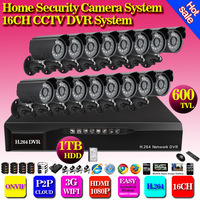 home DIY Security kit camera system 16CH HDMI DVR + 16pcs 600tvl color indoor  outdoor Waterproof CCTV Camera Recording system
