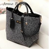 2014 new spring and summer women's handbag fashion woolen fashion bucket handbag PU messenger bag z520