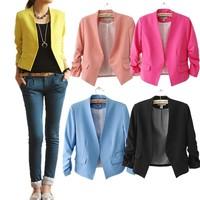 2014 New spring Korea Women Candy Color Solid Slim Fold Sleeve Suit jacket women Blazer Coat LS178