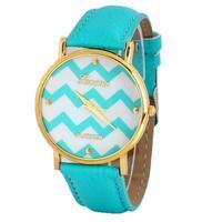 Free Shipping New Light Blue Stylish Popular Geneva Stripes Watch PU Leatheroid Women Analog Quartz Wrist Watches