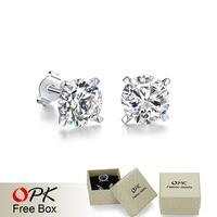 OPK JEWELRY Cheap Sale Fashion Genuine Austrian Crystals Stud Earring for Girl Cubic Zircon Micro Wedding Jewelry, 692