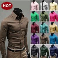 New 2014 Mens Slim fit Unique neckline stylish Dress long Sleeve Shirts Mens dress shirts 17colors ,size: M-XXXL
