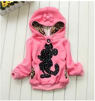 2014 autumn and spring minnie girls coats cotton children hoodies Blusas Moleton Infantil casacos