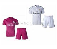 10set/lot free EMS/DHL 2015 real madrid pink soccer jerseys Real Madrid pink soccer uniform soccer  football jerseys&short