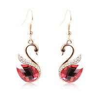 fashion drop earrings small accessories rose crystal swan Drop earrings for women Wholesale TE079