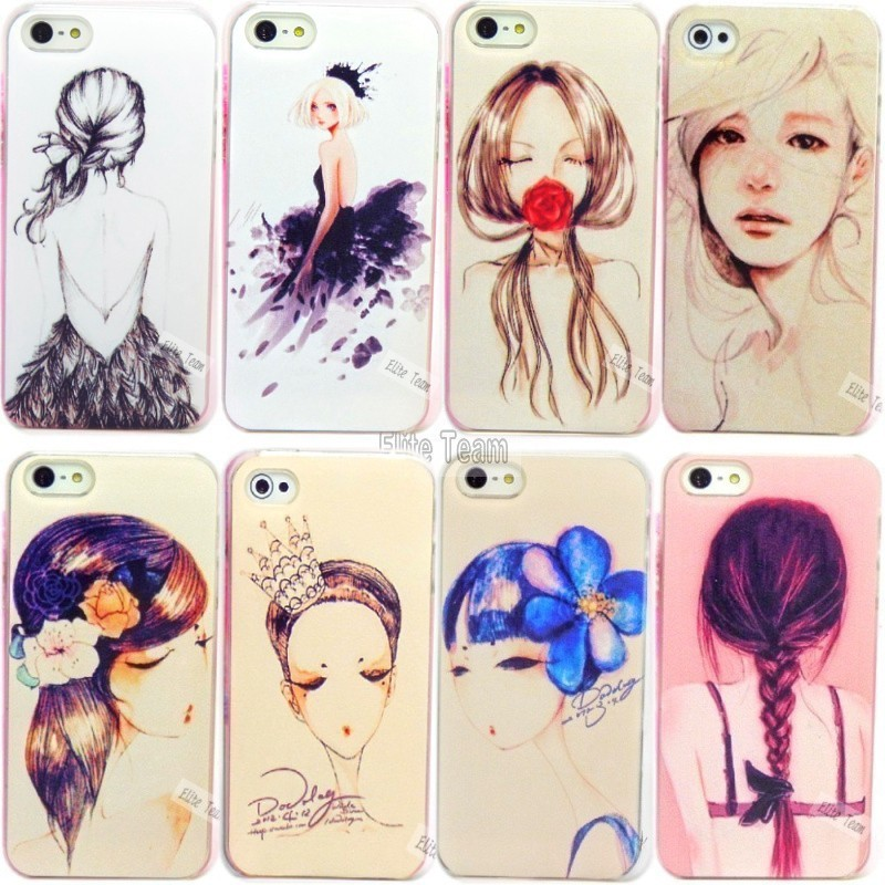 NP8:New Arriver Colorfully Painted Charm Pretty Girl Drawing Cases / Cover For Apple Iphone 5 5s 5G Case Cell Phone Shell UAOO N(China (Mainland))