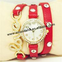 65pcs/lot 2014 new fashion wrap around bracelet watch love crystal leather women's quartz wrist watches wholesale factory price