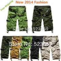 Free Shipping  New 2014 Fashion Summer Loose Casual Cargo Shorts Large Yard Fifth Multi-pocket Men Shorts