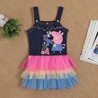 New 2014 children clothing baby girls dress child kids Condole belt dress dresses girls cartoon clothes Z201