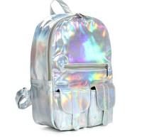 2014 Hologram Laser Silver school bag double-shoulder backpack HARAJUKU laser symphony bag preppy style casual backpack Large