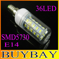 2014 New 6pcs/lot 5730 LED SMD 5730 E14 12w led corn bulb lamp, 36LED E14 Warm white /white,5730 SMD led lighting,free shipping