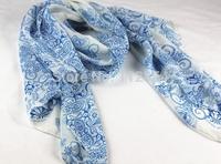 Free Shipping+Wholesale Fashion style blue and white porcelain chiffon fashion scarf autumn and beach scarf 170x60cm,200pcs/lot