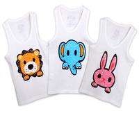 12pcs/lot wholesale baby t shirt cotton aniaml sleeveless T-shirt for kids t shirts infant vest child tees children summer wear