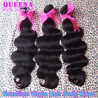 Brazilian virgin hair body wave 3pcs/lot natural black 100% virgin human hair weave unprocessed brazilian hair weave bundles