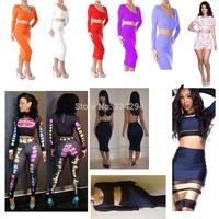 2014 New Hot Long Sleeve Fashion Sexy Women Autumn Dress Two Piece Bandage Bodycon Elegant Outfit Clubwear Mini Dresses