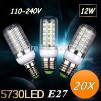 20X  E27 / E14 / GU10 / G9  / B22 12W  SMD 5730  led corn bulb lamp, 36LED Warm white /white led lighting Free Shipping