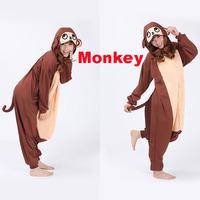 Free Shipping Animal Romper Mens Ladies Fleece Suits Onsie Fancy Dress Costume Onesie Pajamas * Monkey