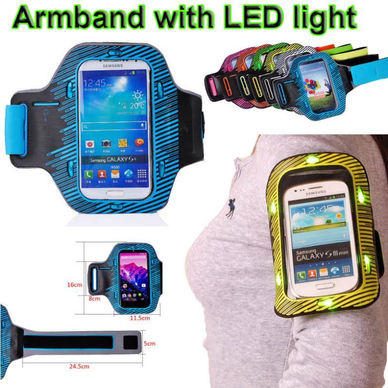 Noite Ciclismo diodo emissor de luz Sports executando braçadeira para Samsung Galaxy S3 S4 S5 i9600 para o Google Nexus 5 E980 para Nexus4 E960 Armband(China (Mainland))