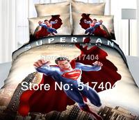 Popular superman bedding,4pc bedding set without filler,500TC Cotton spiderman / superman comforter sets sheet queen size