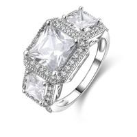 Sterling Silver Radiant Cut SONA Lab Diamond Women's Wedding Engagement Ring (MATE R073)