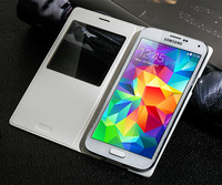 For Samsung Galaxy S5 i9600 S View Flip Cover Leather Case, Smart Sleep Function, Retail Package,Wholesale 20pcs/Lot