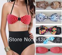 New 2014 High Waist Triangle Bikini Set For Women, Brand Push Up Bow Monokini Print Dots Leopard Swimwear Swimsuit With Bows