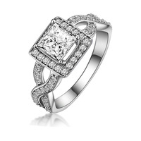 luxury sterling silver 3/4 carat cushion cut sona Synthetic Diamond engagement ring for women (MATE R080)