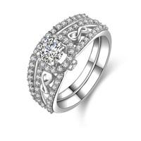 1/2 Carat Princess Cut Simulated Diamond Solid Sterling Silver 2 Matching Wedding Ring Set Jewelry (MATE R077)