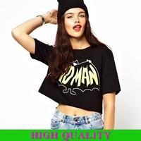 New 2014 Fashion Brand T Shirt Women Clothing Helf Sleeve Crop Top Punk BAD MAN Letter Bat Print T Shirt Sexy T-Shirts Blouses