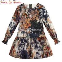 Casual Girl Dress Ink Print Children Party Dresses for Baby Girls Silk Chiffon Princess Dress 2014 Brand Kids Clothes Vestidos