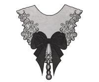 5pc 33x37cm Embroidery Neckline Lace Applique Bowknot Lace Trim Collar Dentelle Guipure Motif Patches Garment Accessories AC0168
