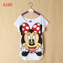 2014 venda quente das mulheres camisetas de manga curta senhora impresso algodão t- shirts tops tamanho grande t bonito cartoon(China (Mainland))