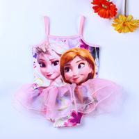 Kids Baby Girls Swimwear Frozen Princess Elsa Anna Lace Dress Children One Piece Swimsuit Toddler Swim Wear Bather bone infantil