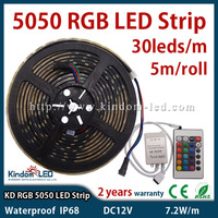 30LED/m waterproof LED RGB Strip 5050 SMD with IR 24keys remote controller DC12V flexible light 10m/lot LED RGB luminaria tiras