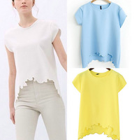 ST1533 New Fashion Ladies' Elegant reverie cutted T shirt O neck short sleeve shirt casual slim brand designer tops