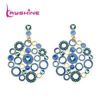 Boucle D'oreille Dangle Earrings for Women Vintage Style Hollow Out  Elegant Enamel  Round Drop Earrings