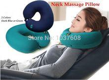 azul pescoço ALMOFADA Massagem verde ou escuro forma de U travesseiro massageador elétrico almofada de seis velocidades pescoço ajustável massageador travesseiro(China (Mainland))