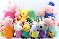 16pcs/lot New Peppa Pig Friends Family Doll Plush Toys Pepa Teddy Bear George Dinosaur Grandpa and Grandma Kids Birthday Gifts
