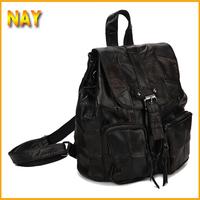 Black Elegant Sheepskin Genuine Leather Backpack For Women Travel Bag Preppy Style School Bags