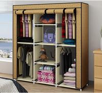 Cabinet Large cloth wardrobe 3 6 door tape zipper simple storage A wardrobe 116*43*169CM