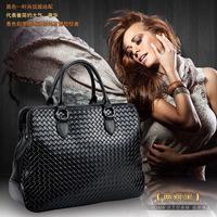 Quality popular Knitted  genuine leather vintage women's cowhide handbag commercial fashion handbag free shipping