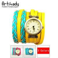 Artilady yellow charm leather wrap wrist watch for women retro watch bracelet stack layer watch new 2014