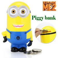 Baby Kids Children gift Despicable me figure Whimsy Cartoon coin minions pvc Vinyl Money 3D Toys Robot Piggy bank Collection box