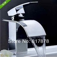 Single Handle Brass Chrome Finishing Waterfall Bathroom Basin Faucet+ Big Mouth Waterfall faucet se24